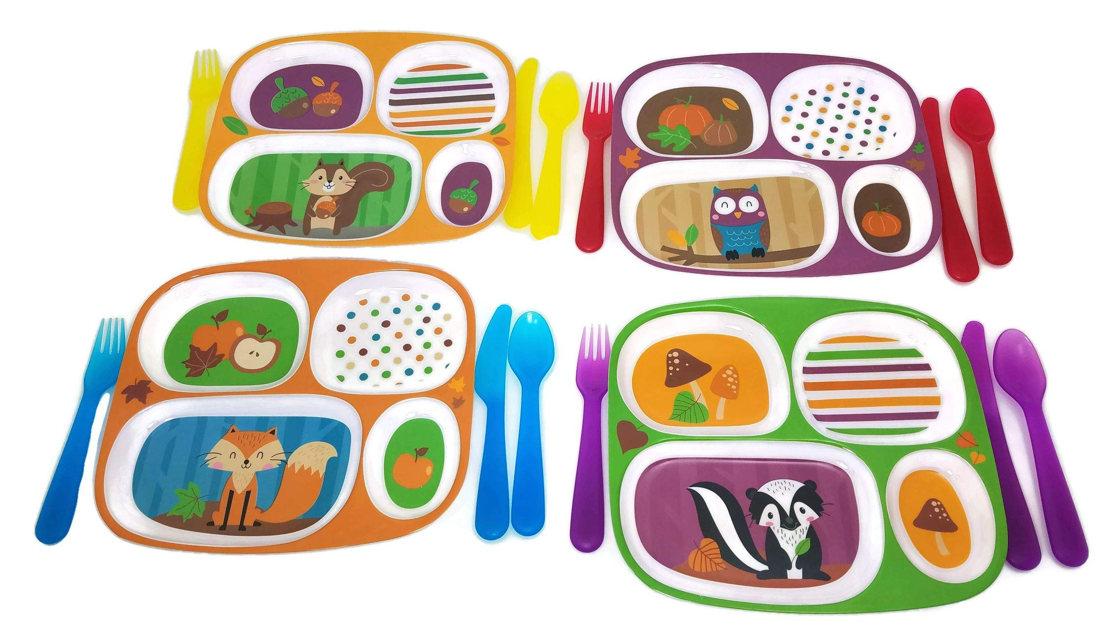 Kids Dinnerware Set of 4 Assorted Divided Plastic Plates with Quality Kids Forks, Knives, and Spoons (Assorted Colors; Colors May Vary), 16 Pieces by Generic