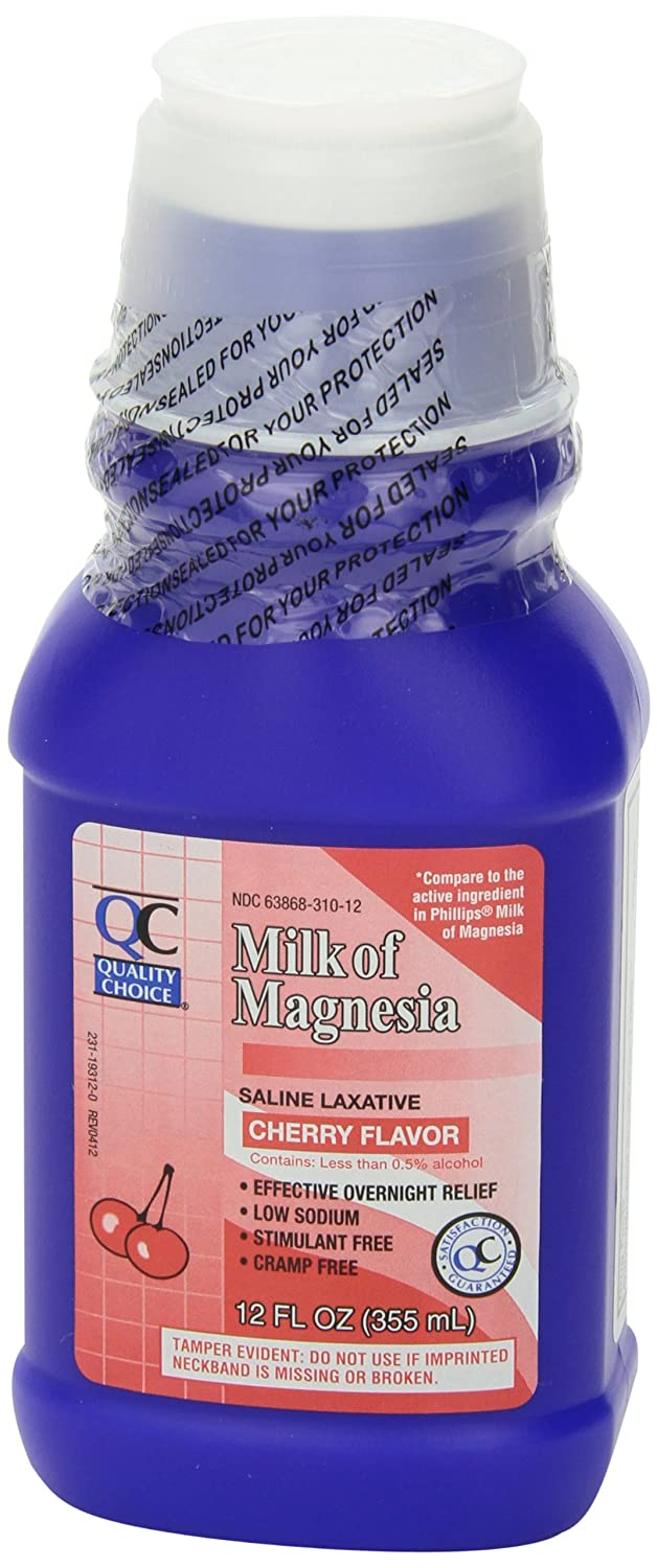 Amazon.com: Quality Choice Milk Of Magnesia Cherry Flavor 12 Fluid Ounces (355ml) , Plastic Bottle (Pack of 6): Health & Personal Care