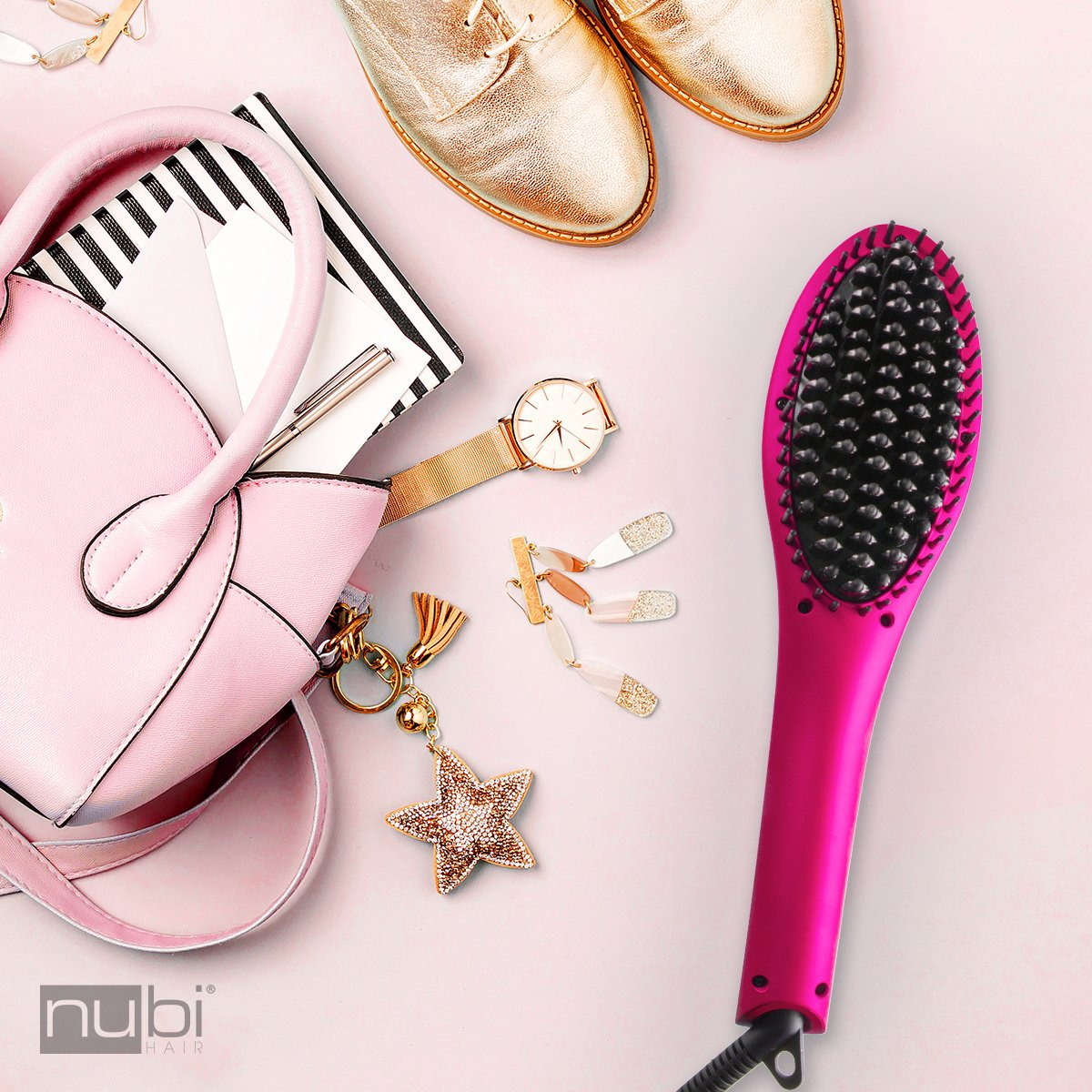 Nubi Hair Simply Sleek Ceramic Hair Straightening Brush Pink