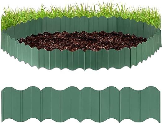 Relaxdays, Verde, Valla para jardín, Seis delimitadores para césped, para Fijar en el Suelo, Altura de 12, 5 cm: Amazon.es: Jardín