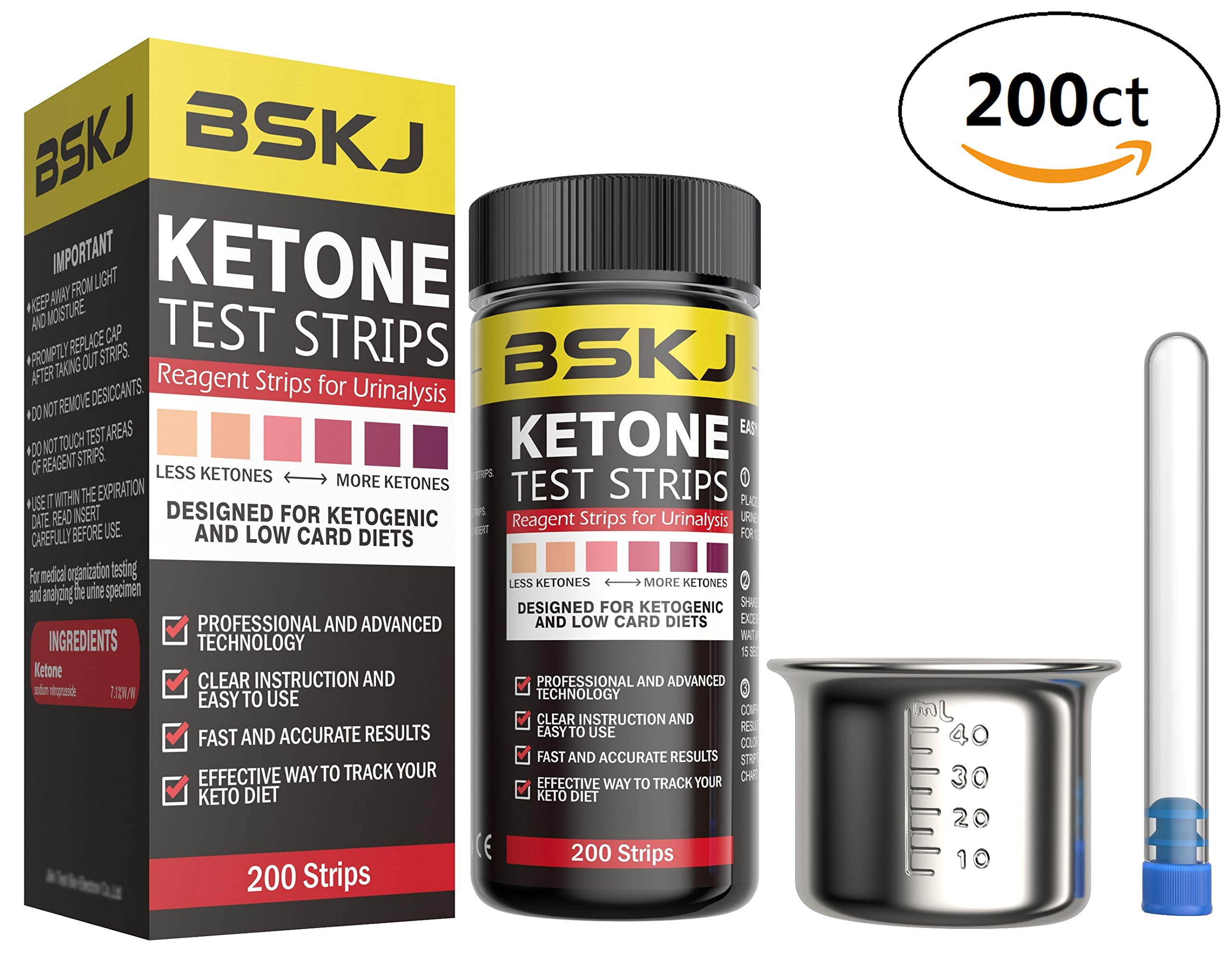 BSKJ Ketone Test Strips 200ct Monitor Ketosis Precise Urine Keto Strips for ketogenic Diet Weightloss and Diabetics Comes with Stainless Steel Urine Cup and Test Tube Storage Bottle