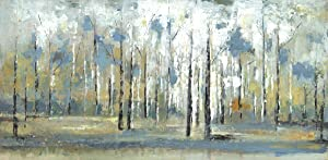 Art Maison Contemporary landscape, Sky Branches- Birch Trees Modern Décor for Home and Office, 48WX24LX1.5D, Green, Blue, White