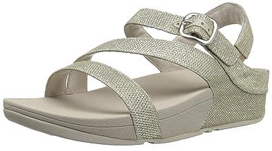 FitFlop Women's The Skinny Sparkle Z-Strap Sandal Flip Flop, Pale Gold, 5