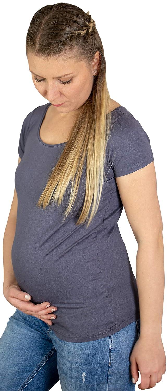 Umstandsmode f/ür die Stillzeit Maternity-T-Shirt und Schwangerschaft-Langarmshirt Evagreen Umstandstop Mutterschaft-Tr/ägertop