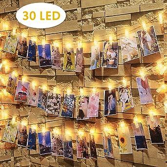 30 Led Fotoclips Lichterkette,Nasharia LED Foto Lichterkette 3,2 Meter 30 led Lichterketten Batteriebetriebene Warmwei/ß Stimmungsbeleuchtung Dekoration f/ür H/ängende Bilder,Foto /& Weihnachten,PartyDeko