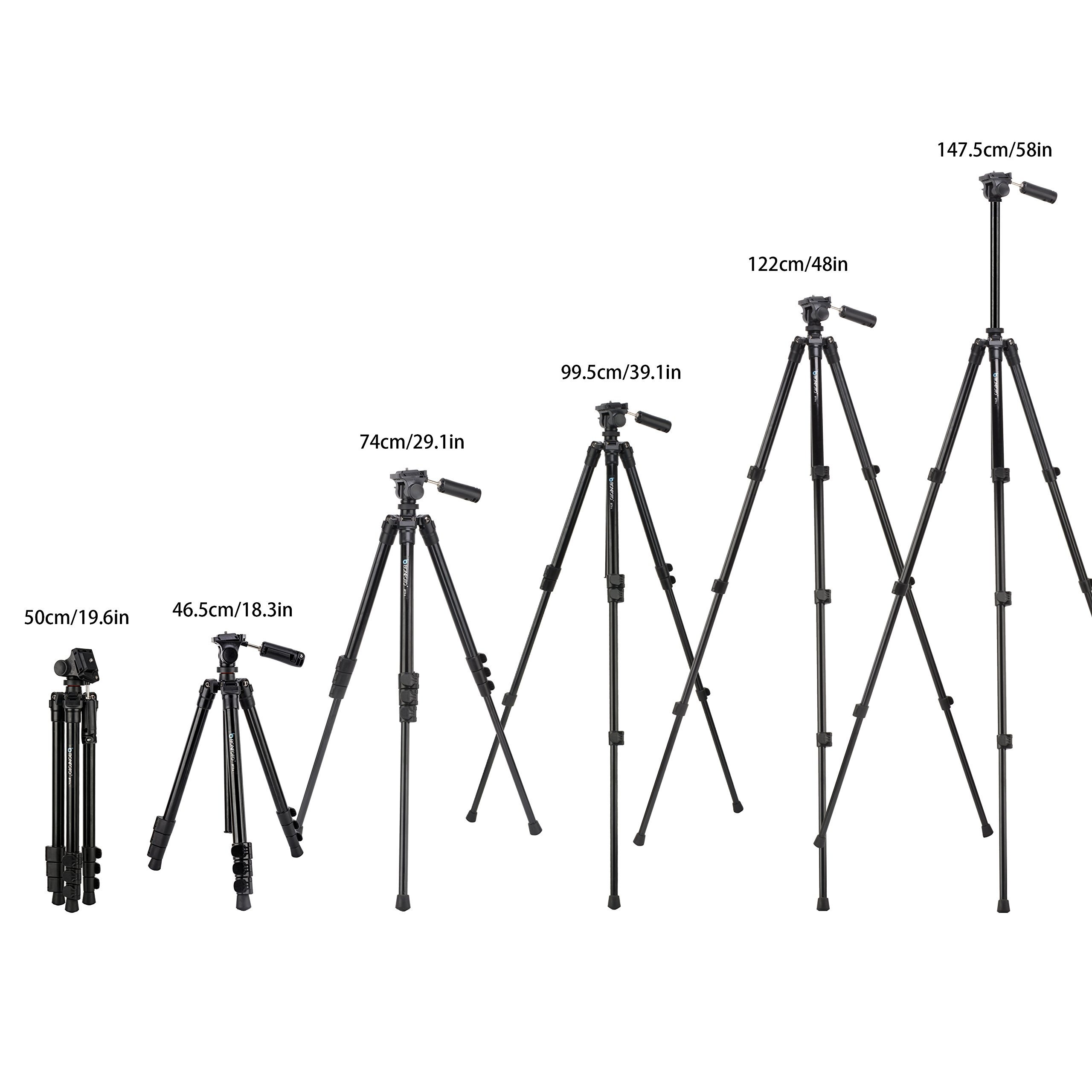 """BONFOTO B73A 58"""" Portable Aluminum Alloy Lightweight Camera Travel Tripod and Monopod with Panorama Pan Head,Quick Release Plate and Carry Bag for Smartphones and Most DSLR Cameras with 1/4\"""