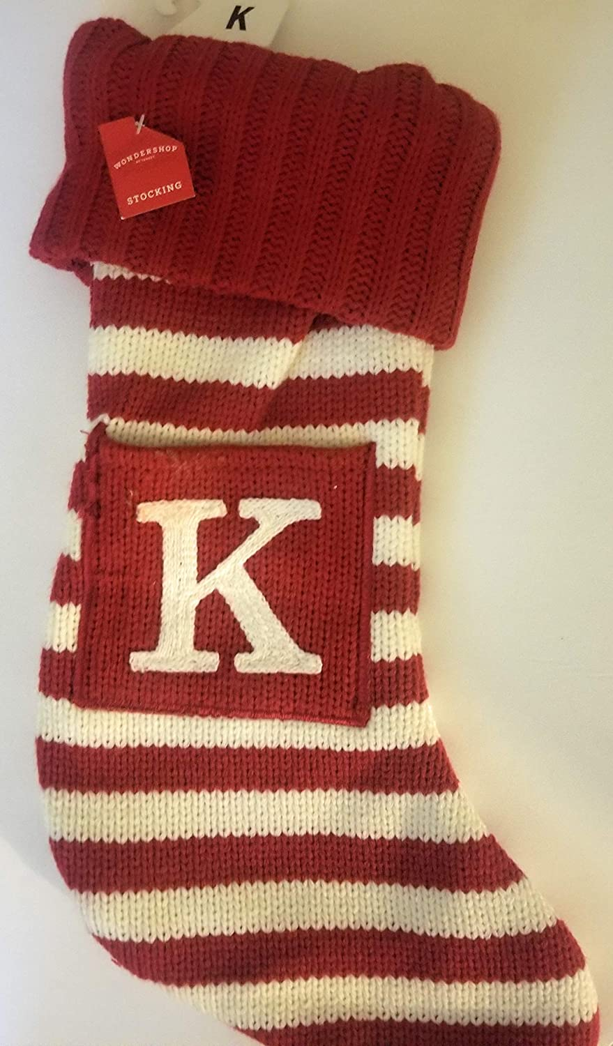 Wondershop Holiday Christmas Red White Thick Knit Monogram Stocking Letter K 19
