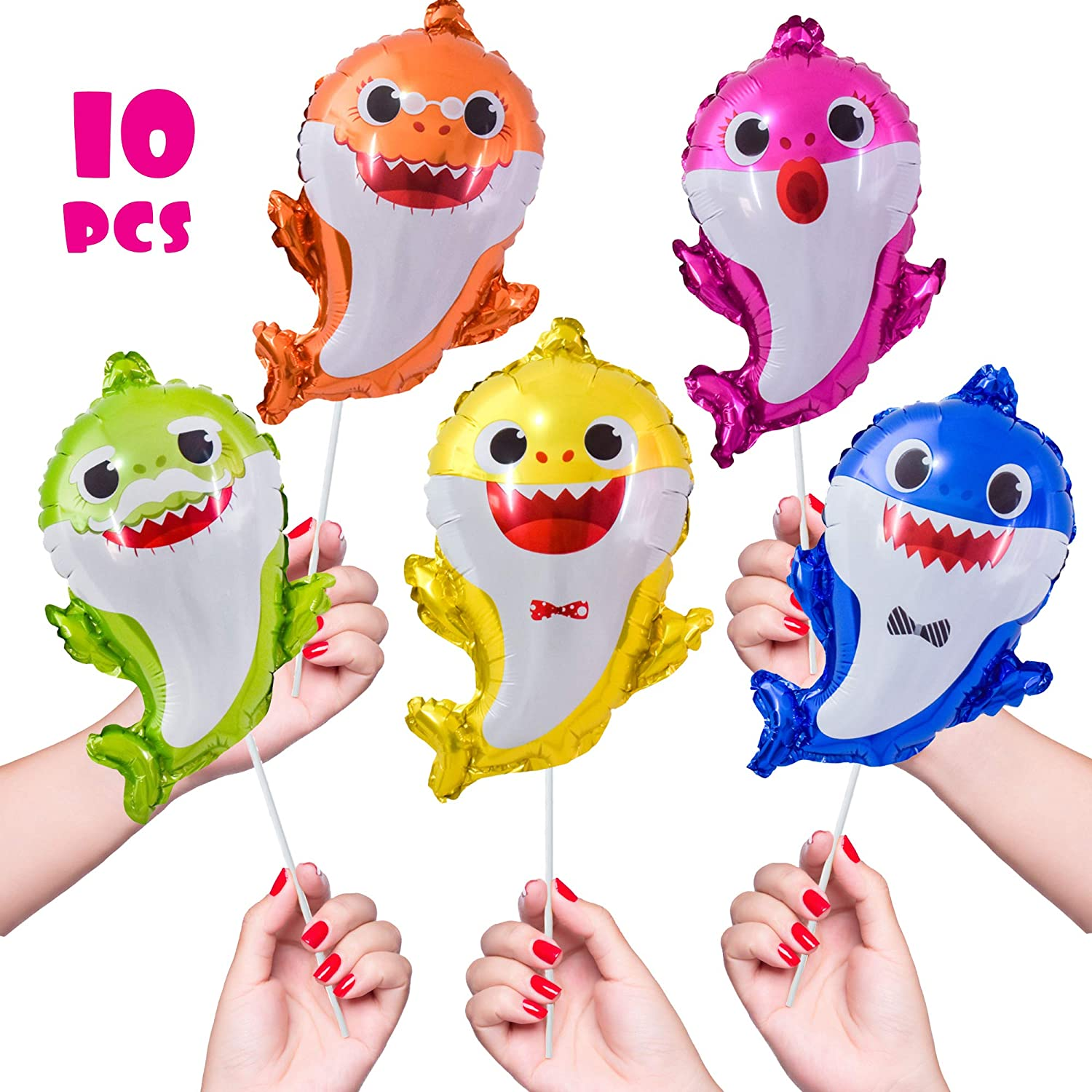 OMG Party Factory - Handheld Baby Shark Balloons - Baby Shark Party Favors - Mylar Foil Party Supplies Ballons - All Family Members Included Doo Doo ...