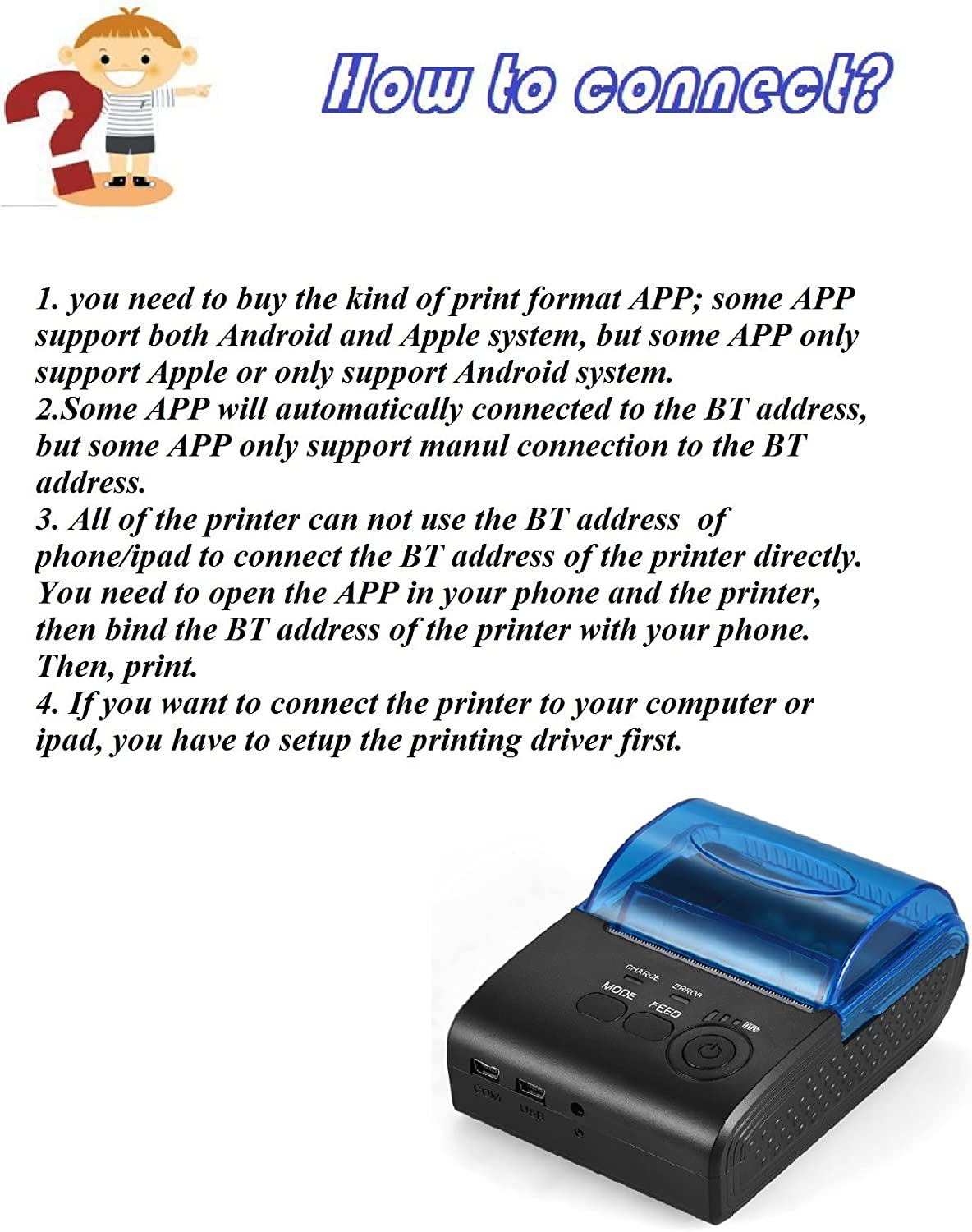 Aibecy 58mm Thermal Receipt Printer Portable Mini Wireless Thermal Printer USB Receipt Bill Ticket POS Printing for iOS Android Windows Compatible ...
