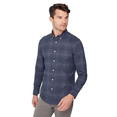 3ac1718052bb Red Herring Men Navy Check Print Slim Fit Shirt Xs  Red Herring   Amazon.co.uk  Clothing