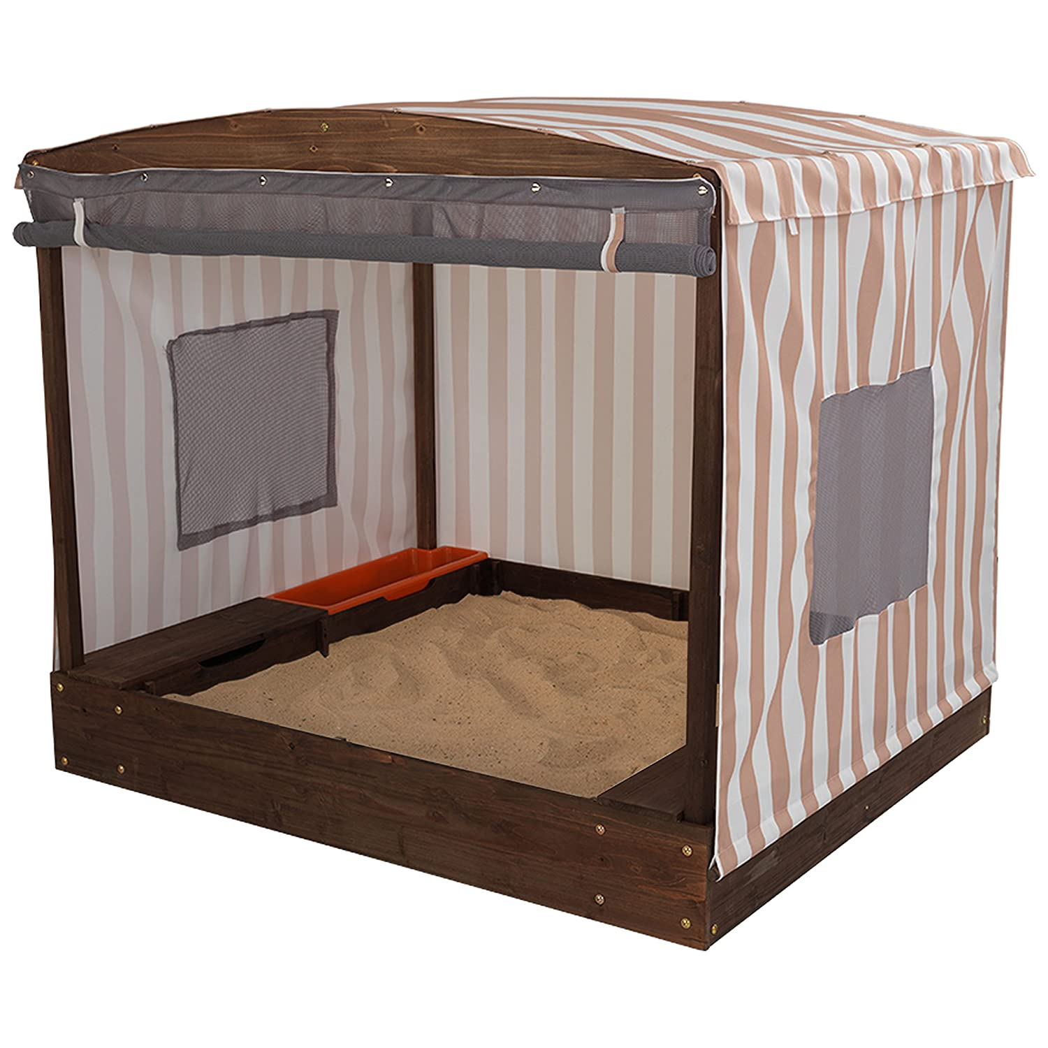 amazon com kidkraft 00 cabana sandbox oatmeal and white stripes