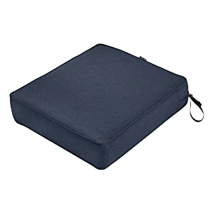 "Classic Accessories Montlake Seat Cushion Foam & Slip Cover, Heather Indigo, 25x27x5"" Thick"