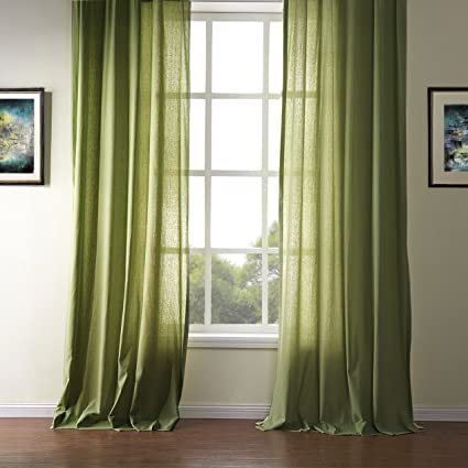 Solid Olive Green Curtains Living Room Drapes - KoTing 1 Panel Modern  Simple Design Grommet Top Drapes 120 inch Long Extra Length