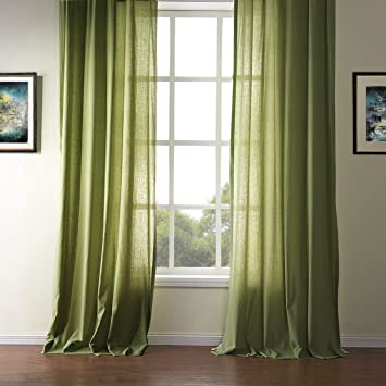 KoTing Solid Olive Green Curtains Living Room Drapes 1 Panel Modern Simple  Design Grommet Top Drapes 84 inch Long