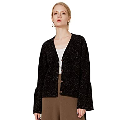 8892d777303 Chesslyre Cashmere Cardigan Sweaters Long Sleeve Womens Black Cashmere  Sweater Subtle Luxury Cashmere Sweater