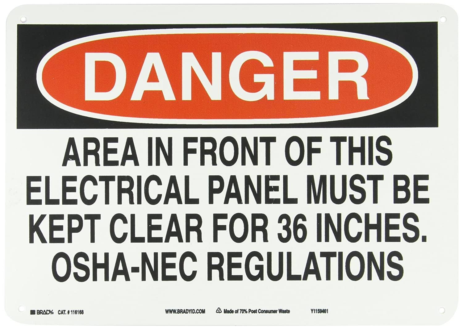 Brady 116168 14 Width x 10 Height B-563 Plastic Legend Danger Area In Front Of Electrical Panel Must Be Kept Clear For 36 Inches-OSHA NEC Regulations Red And Black On White Color Sustainable Safety Sign
