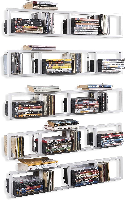 You Have Space Wandhalterung Medien Aufbewahrung Cd Dvd Organizer 86 4 Cm Metall Schwebend 5 Stück Weiß Baumarkt