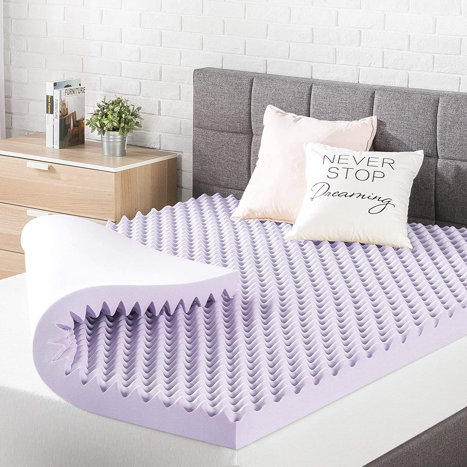 Best Price Mattress 3 Inch Egg Crate Memory Foam Topper, Mattress Pad with Soothing Lavender Infusion, CertiPUR-US Certified, Queen: Furniture & Decor