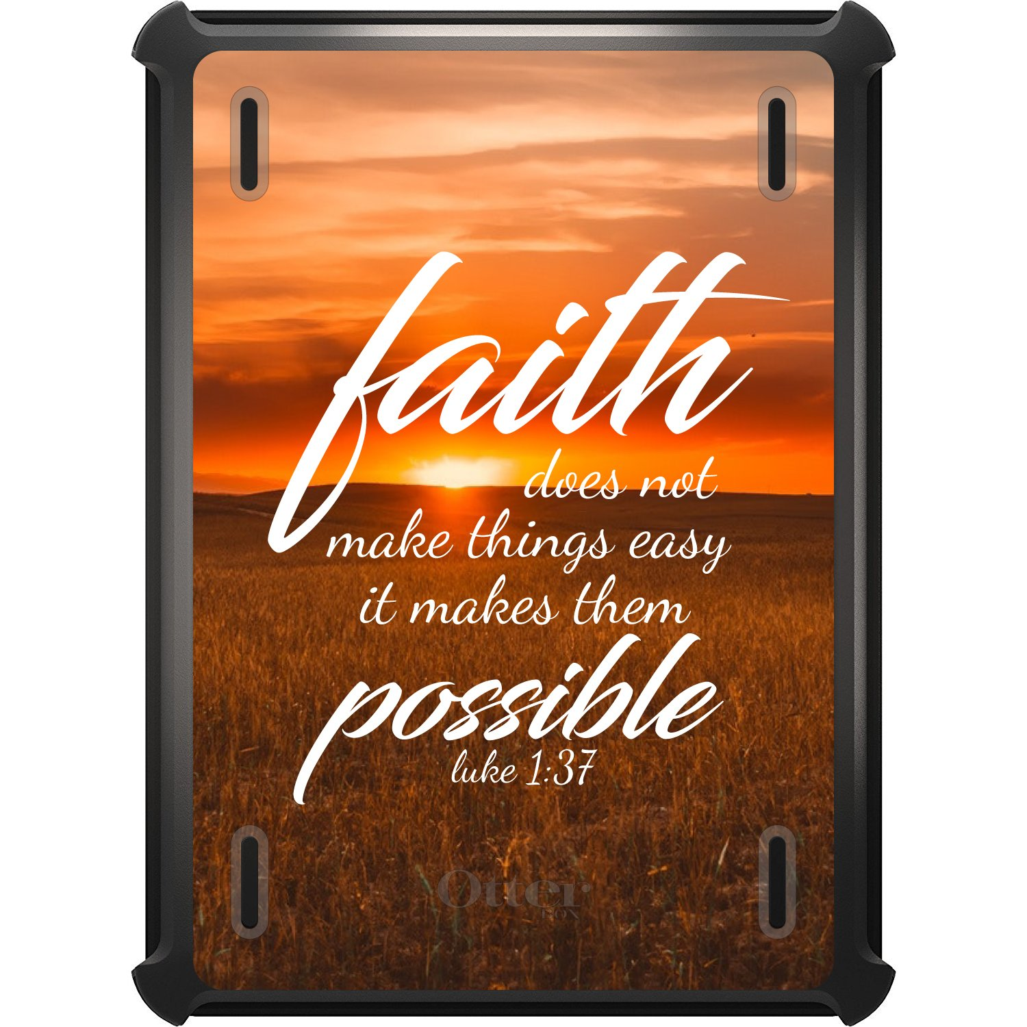 DistinctInk Case Compatible with iPad Pro 12.9'' (3rd Gen - 2018) - Custom Black OtterBox Defender - Works with Apple Pencil - Luke 1:37 - Faith Does Not Make Things Easy, It Makes Them Possible
