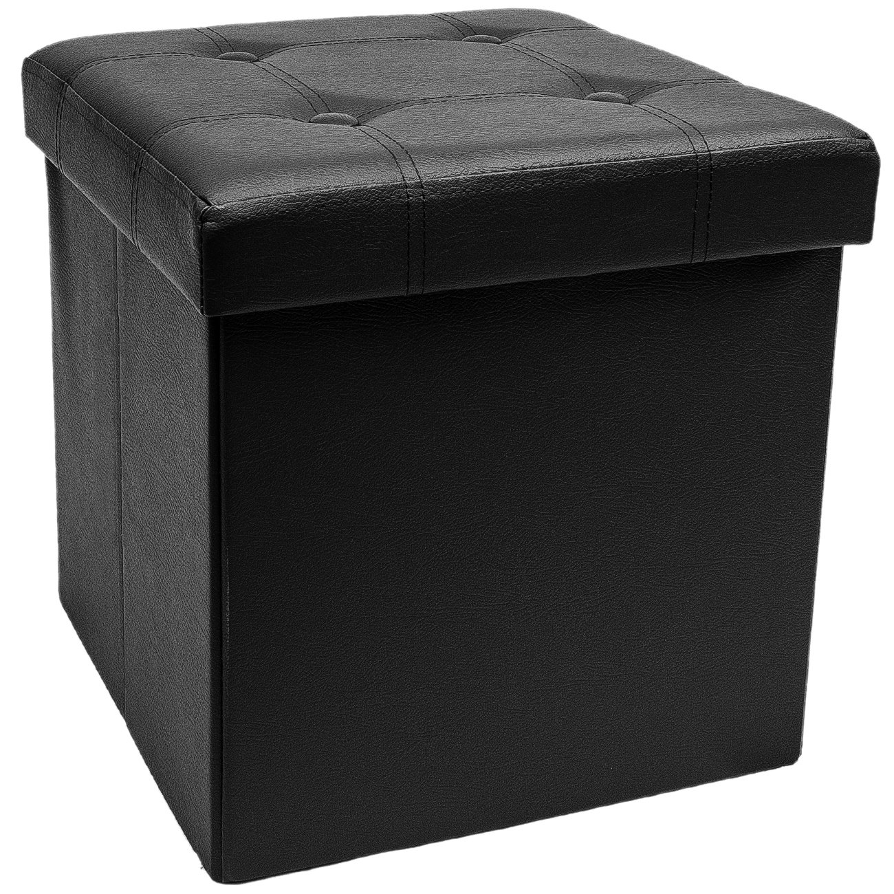 Sorbus Storage Ottoman – Collapsible/Folding Cube Ottoman with Cover–Perfect Hassock, Foot Stool, Seat, Coffee Table, Storage Chest, and more–Contemporary Faux leather (Black)