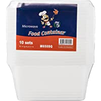 Bel M650SQ/10 Plastic Food Container with Lid, Square (Pack of 10)