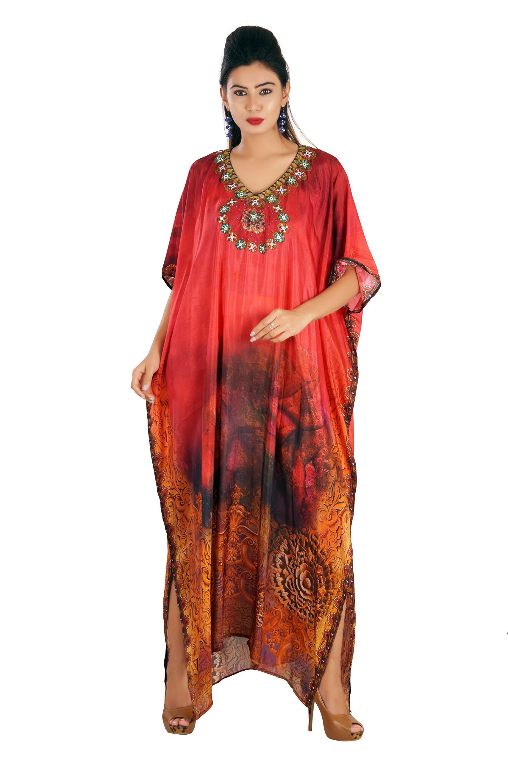 New printed kaftan designer silk kaftan crystal embellished long dress beach wear 284