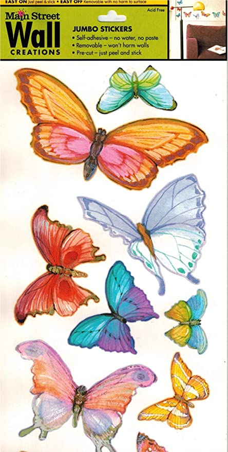 Amazon Com Main Street Wall Creations Jumbo Brightly Colored Butterfly Stickers 2 Sided Sheet
