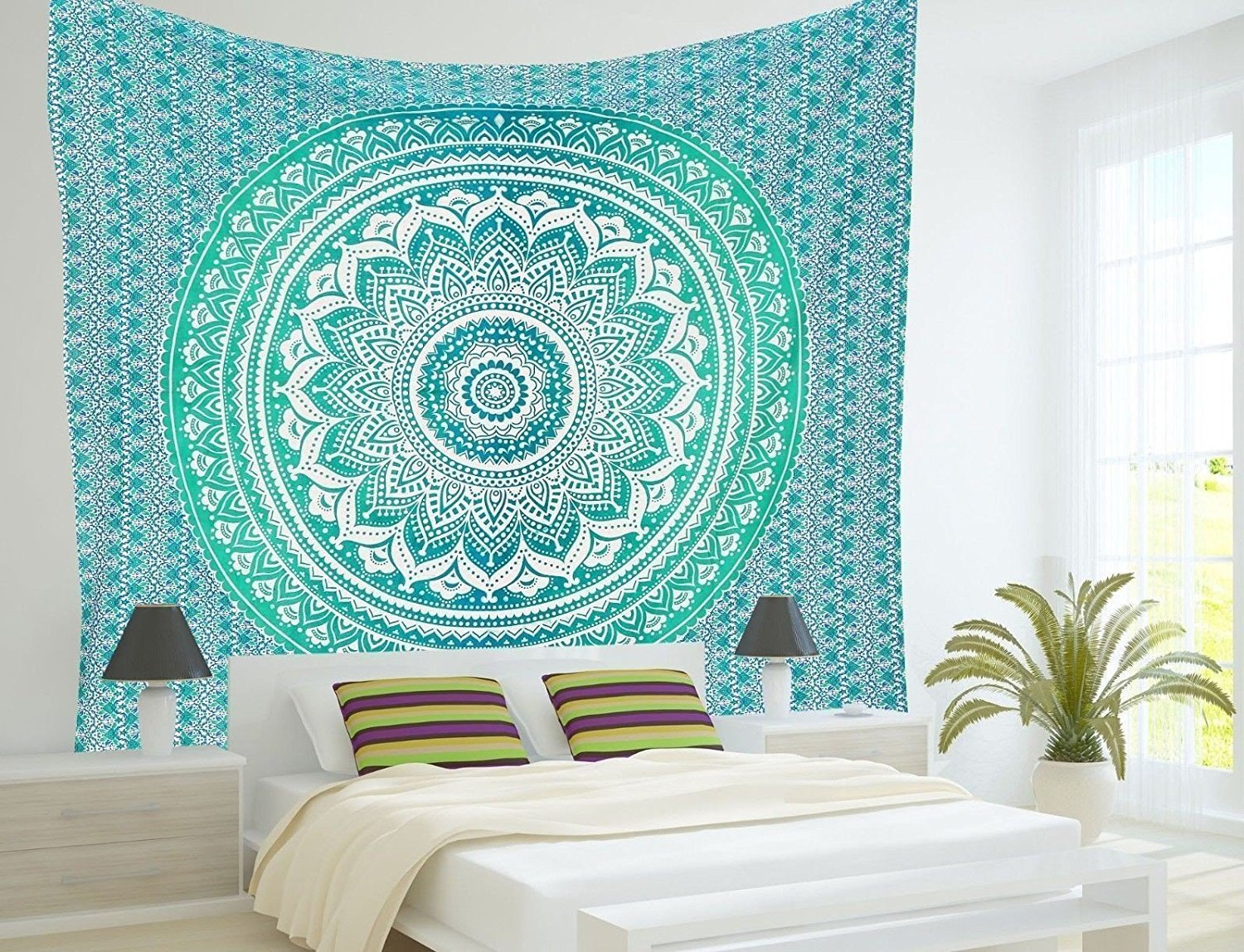 Popular Handicrafts Twin Ombre Tapestry Indian Mandala Wall Art, Hippie Wall Hanging, Bohemian Bedspread 54''x84''