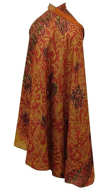 Indianbeautifulart Vintage Sari Reversible del Abrigo Corto Maxi de Seda Pura del Hippie: Amazon.es: Ropa y accesorios