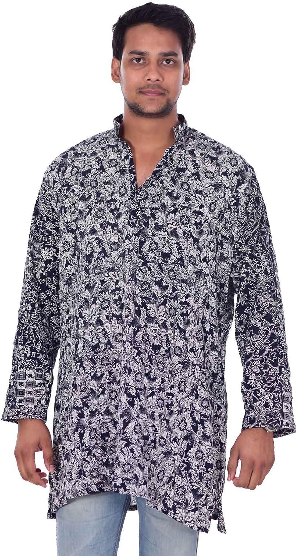 100/% Cotton Indian Men/'s Shirt Kurta tunic Loose Fit Animal Print Grey Color