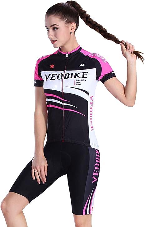 Asvert Maillot Ciclismo Mujer Manga Corta al Aire Libre Equipación de Ropa Ciclista Elástica y Transipirable para Otoño: Amazon.es: Deportes y aire libre