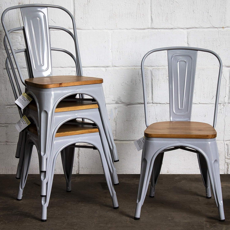 Marko Furniture Palermo Set of 4 Pale Grey Metal Industrial