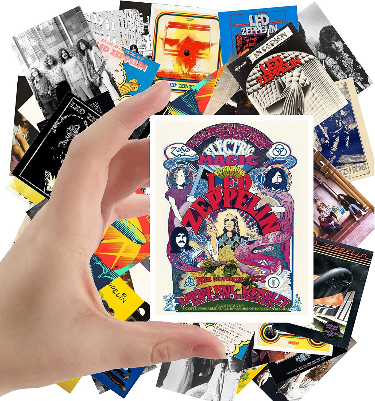 "Large Stickers (24pcs 2.5""x3.5"") LED ZEPPELIN Rock Music Posters Photos Vintage Magazine covers"