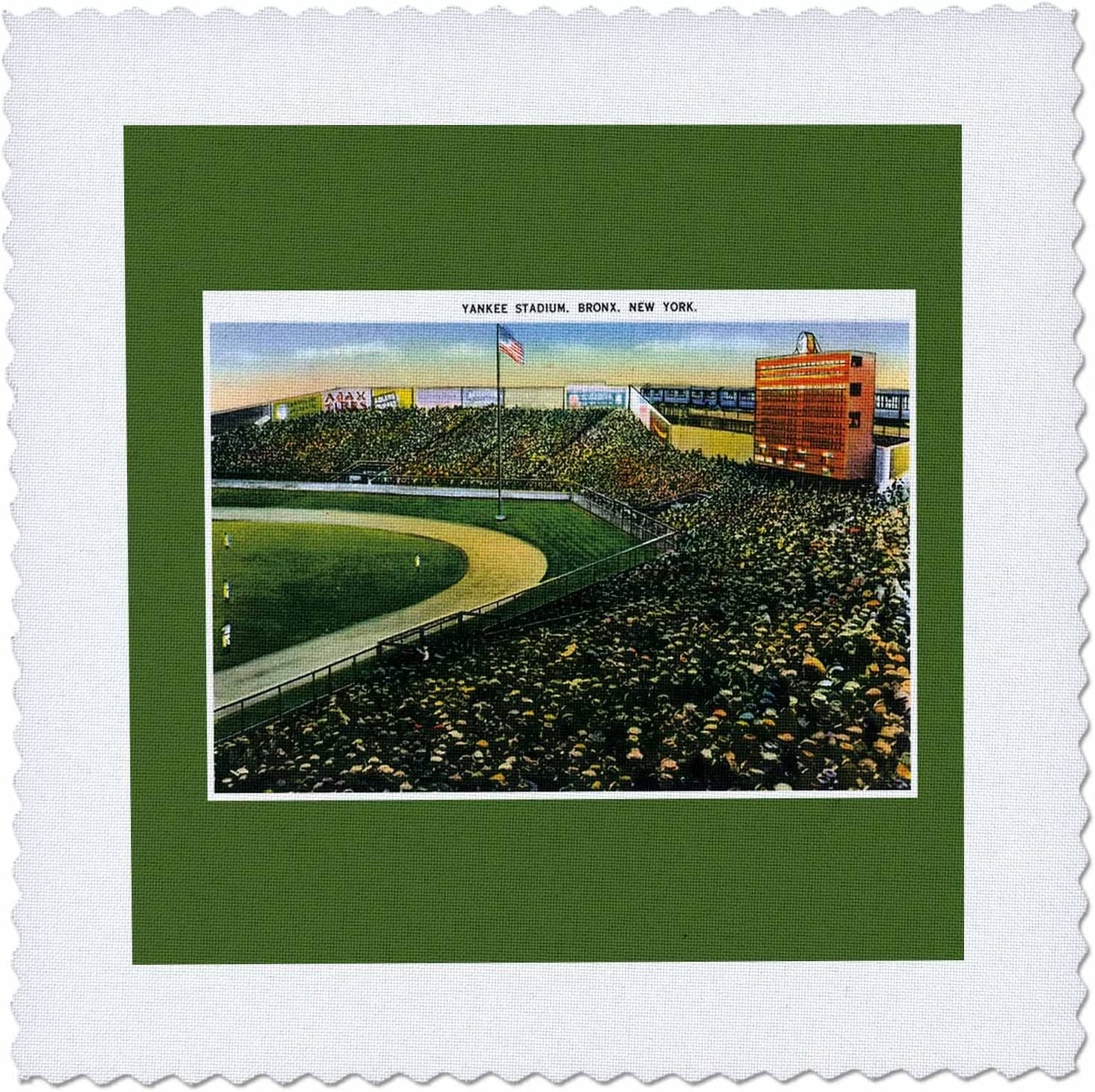 3dRose Yankee Stadium New York City Vintage Postcard Reproduction 12 by 12-Inch Bronx qs/_170363/_4 Quilt Square