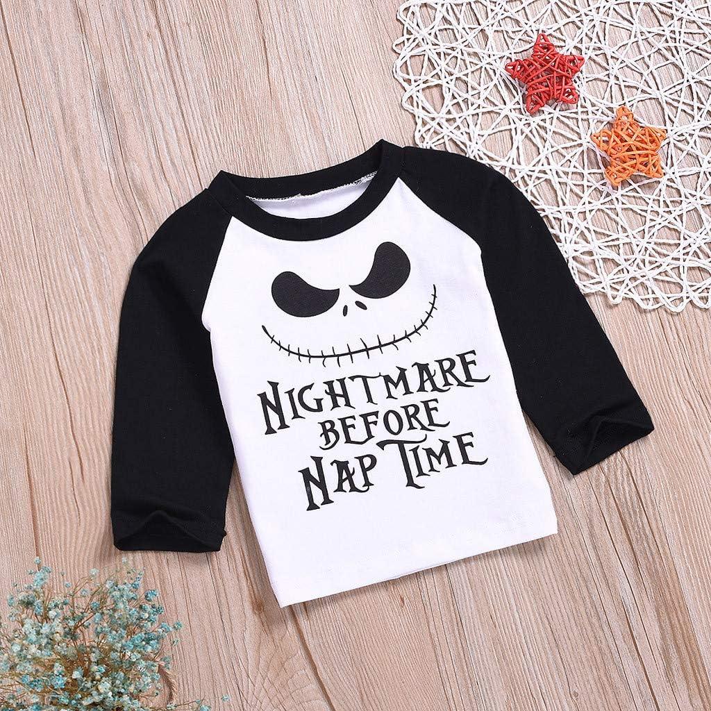 Infant Toddler Boys Girls Halloween Cartoon Letter Print T Shirt Tops Long Sleeve Blouse Tee for 6-24 Months