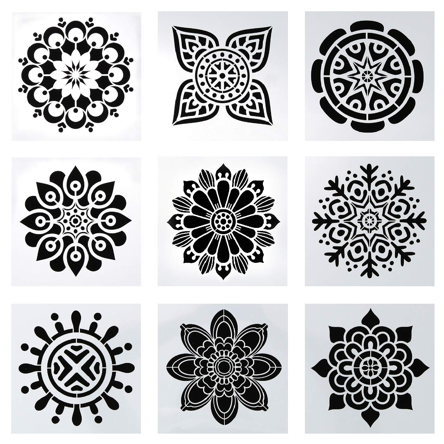 9 Pack Premium Quality Reusable Stencils (6x6 inch) Laser Cut Painting Stencil Painting Stencils for Painting on Wood,Airbrush and Walls Art DaBuLiu
