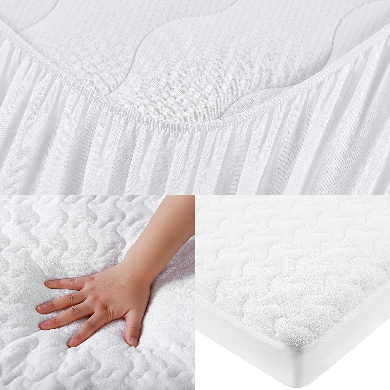 "Soft Fitted Baby Crib Mattress Pad with 9-inch Pocket Set of 2, Cross Waves - 52/""x 28/"" White Crib Mattress Protector Bamboo Toddler Mattress Pad MoMA Waterproof Crib Mattress Cover"