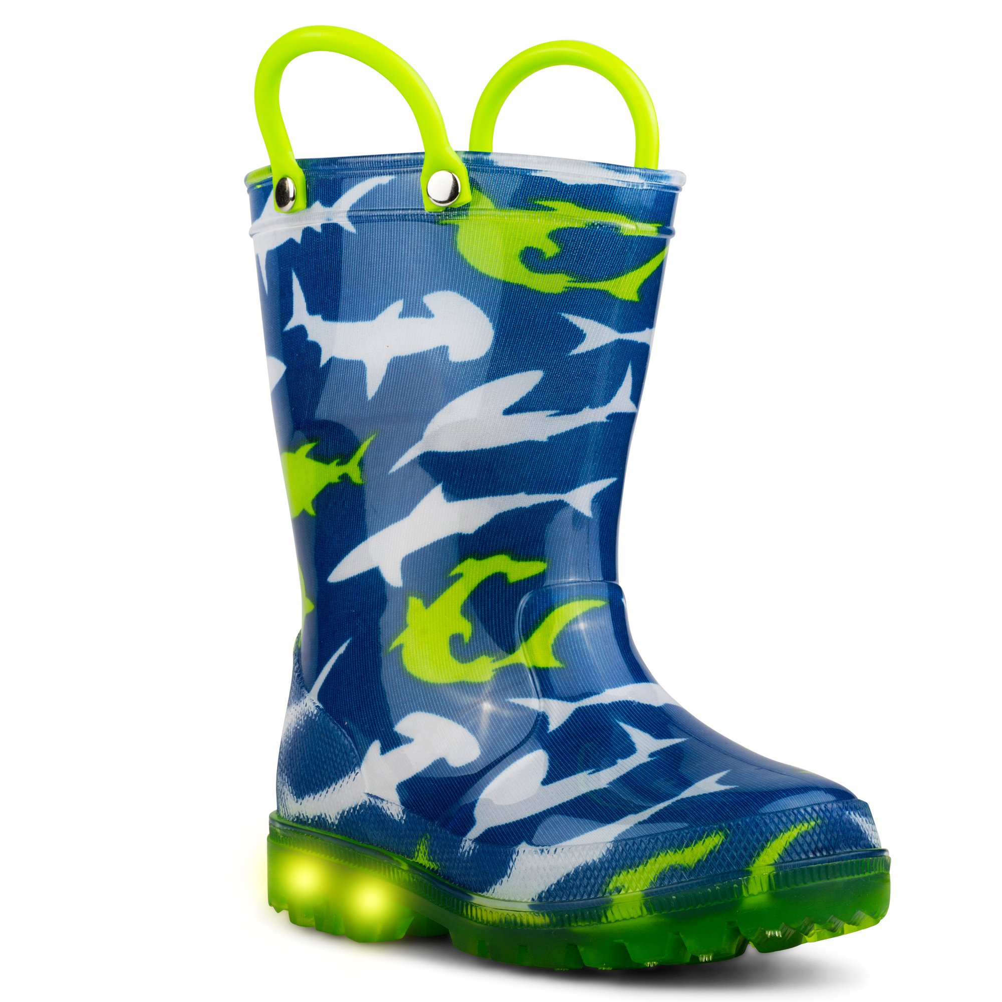 Chillipop Light Up Rainboots for Boys, Girls and Toddlers with Fun Kid Prints with ''5 Lights'' Shark Blue 7 M Toddler