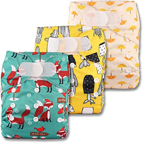 Fastener: Hook-Loop Set of 3 Reusable Pocket Cloth Nappy Patterns 311 Without Insert Littles /& Bloomz
