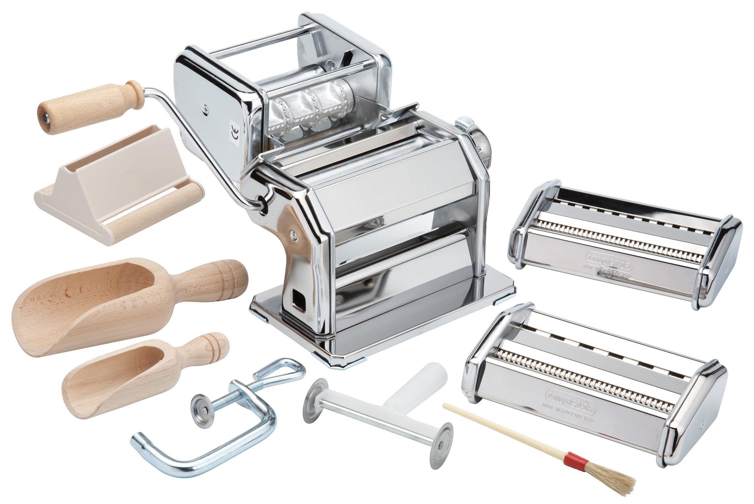 Imperia Pasta Maker Machine- Deluxe 11 Piece Set w Machine, Attachments, Recipes and Accessories by Imperia