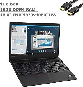 2020 Lenovo ThinkPad E595 15.6'' IPS FHD Full HD (1920x1080) Business Laptop (AMD Quad-Core Ryzen 7 3700U, 16GB DDR4 RAM, 1TB SSD) Type-C, HD Webcam, RJ-45, Windows 10 Pro + IST Computers HDMI Cable