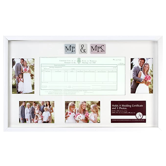 Wedding Marriage Certificate Photo Frame Ivory With 3d Icons Mr
