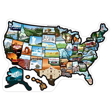 Place States On Map Amazon.com: SEE MANY PLACES .RV State Stickers United States
