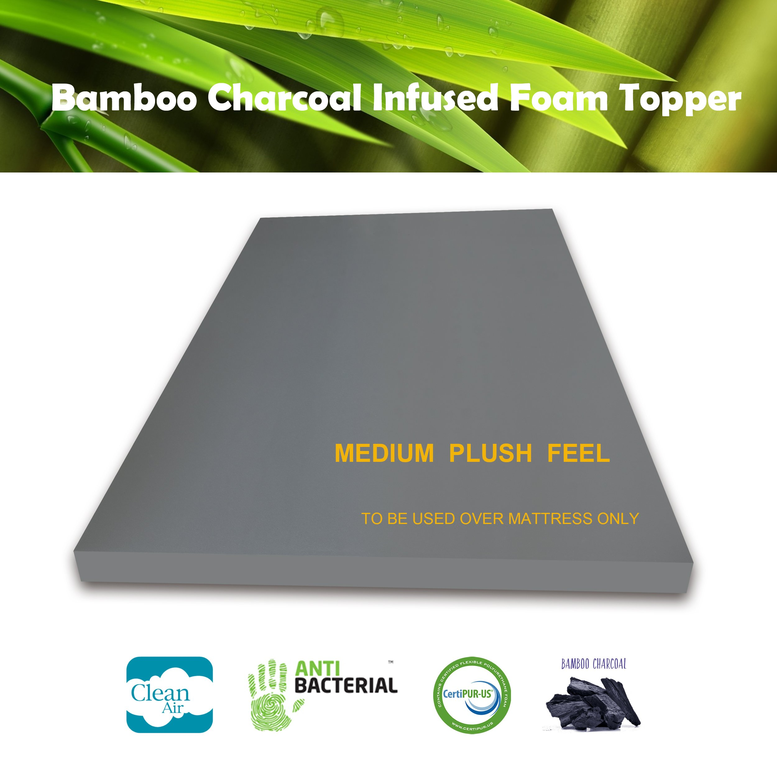 3 Inch Bamboo Charcoal Foam Mattress Topper KING Plush Feel Ventilated for Optimum Temperature Certipur-US Certified 3- Year Warranty