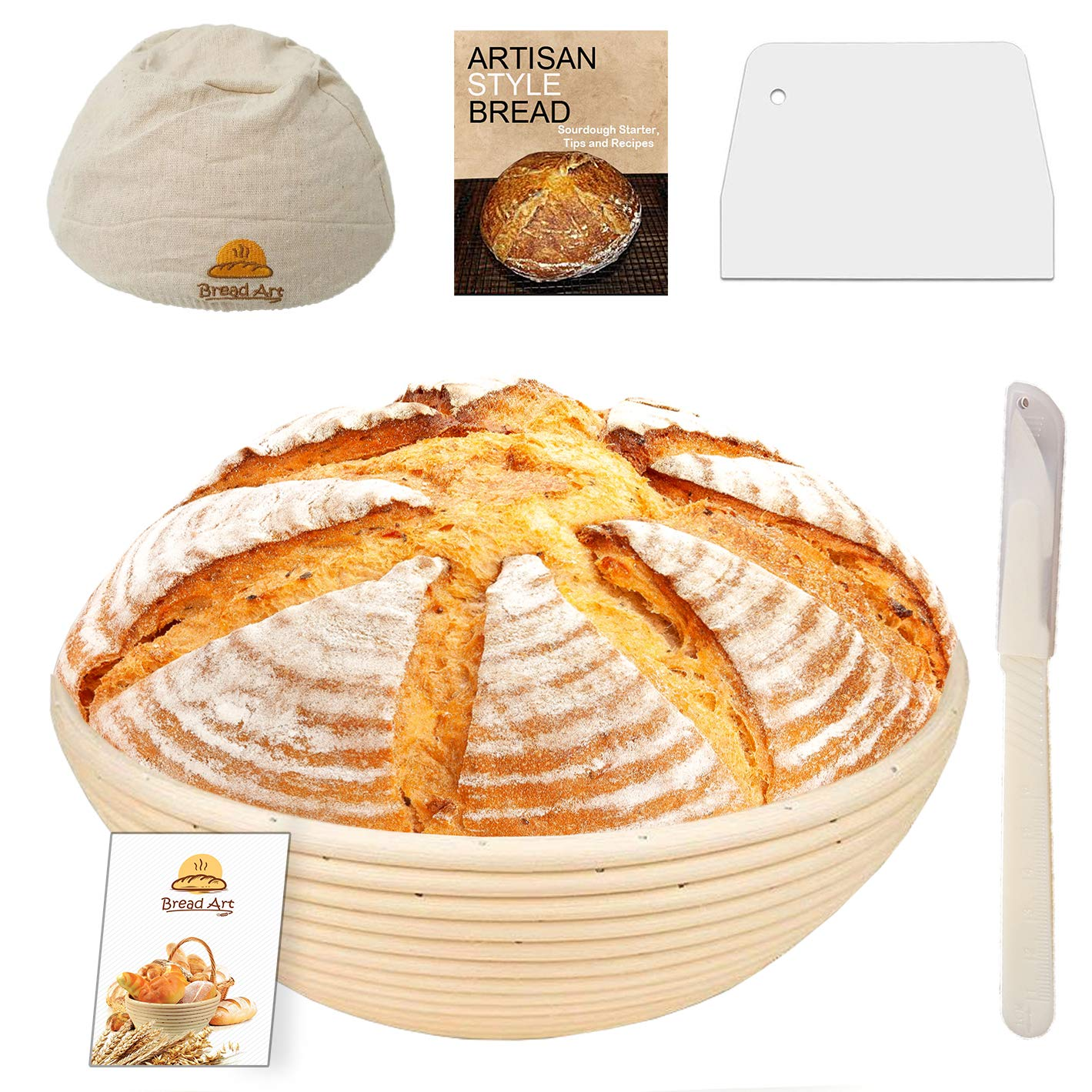 9 Inch Bread Banneton Sourdough Proofing Basket Set with Bread Lame, Dough Scraper, Cloth Liner, EBook by Bread Art
