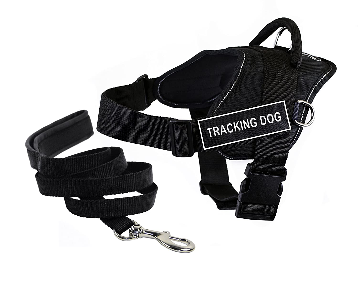 Dean & Tyler Bundle Large Black DT Fun Works Tracking Dog Reflective Harness with Padded Puppy  Leash and 6-Feet Stainless Steel Snap