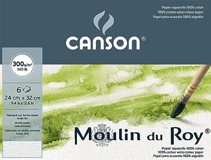 grana fine Canson Pochette Beaux Arts Carte per acquerello Moulin du Roy 6 fogli da 300g colore: Bianco naturale 24 x 32 cm bianco