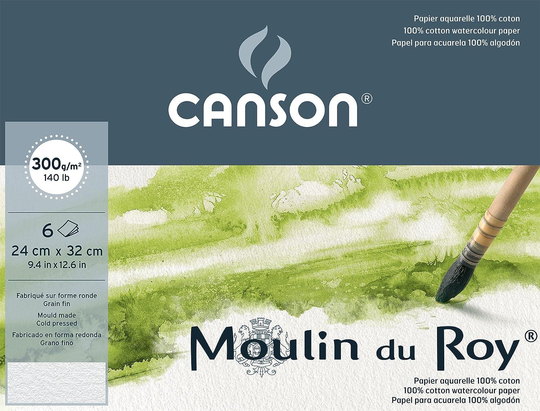 Canson Pochette Beaux Arts Carte per acquerello Moulin du Roy, 6 fogli da 300g, grana fine, colore: Bianco naturale 29,7 x 42 cm - A3 bianco 400056423