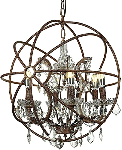 KWOKING Lighting Vintage Candle Sconce Orb Loft Chandelier Ceiling Pendant Light Globe Cage Shape 6 Lights Ceiling Lamp Hanging Lamp with Shining Crystals in Antique Bronze Finish