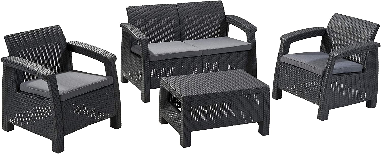Keter Corfu Outdoor 9 Seater Rattan Sofa Furniture Set with Accent Table -  Graphite with Grey Cushions